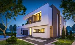 Wiedergabe 3d des modernen Hauses nachts Lizenzfreie Stockfotografie