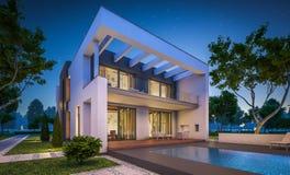 Wiedergabe 3d des modernen Hauses nachts Stockbild