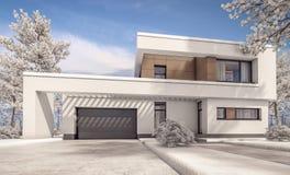 Wiedergabe 3d des modernen Winterhauses Lizenzfreies Stockfoto