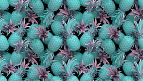 Wiedergabe 3d des nahtlosen Musters heller tiki Art mit Ananas vektor abbildung