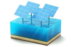 Wiedergabe 3d des Querschnitts des Wasserwürfels lokalisiert auf weißem Hintergrund Blaue Sonnenkollektoren im Seeproduzieren sau vektor abbildung