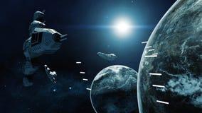Wiedergabe 3D des Raumschiffes im Kampf eine kosmische Szene Lizenzfreies Stockfoto