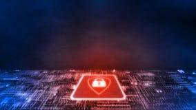 Wiedergabe 3D des roten Schildlogos auf Mikrochip mit GlühenLeiterplatte Konzept der Geschäftssicherheit vektor abbildung