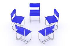 Wiedergabe 3d des rund vereinbarten blauen Stuhls Stock Abbildung