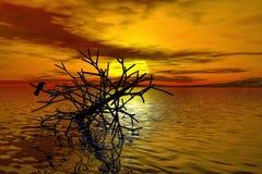 Wiedergabe 3d des toten Baums am See Stockfotografie