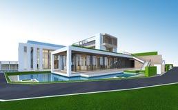 Wiedergabe 3D des tropischen Hauses mit Beschneidungspfad Lizenzfreie Stockbilder