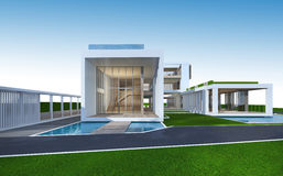 Wiedergabe 3D des tropischen Hauses mit Beschneidungspfad Stockfotografie