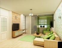 Wiedergabe 3D des weißen Wohnzimmerinnenraums Lizenzfreie Stockbilder