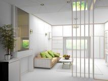 Wiedergabe 3D des weißen Wohnzimmerinnenraums Stockfotos