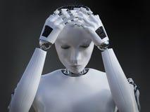 Wiedergabe 3D des weiblichen Roboters schauend traurig Stockfoto