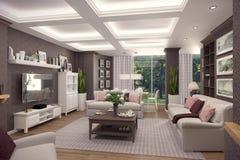 Wiedergabe 3D des Wohnzimmers einer klassischen Wohnung Lizenzfreies Stockbild