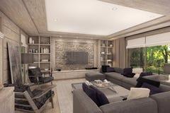Wiedergabe 3D des Wohnzimmers eines Landhauses Lizenzfreie Stockbilder