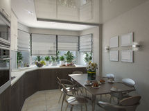 Wiedergabe 3d einer Küche in den beige Tönen Lizenzfreie Stockfotografie