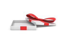 Wiedergabe 3d einer weißen flachen Geschenkbox mit einem roten Bogen auf weißem Hintergrund mit geöffnetem Deckel stock abbildung