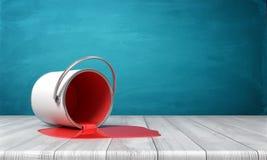 Wiedergabe 3d eines Blecheimers warf auf einem hölzernen Schreibtisch mit der roten Farbe um, die heraus in einer Pfütze leckt lizenzfreie abbildung