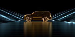 Wiedergabe 3d eines goldenen Autos innerhalb einer futuristischen Straße mit Dunkelheit Stockfotos