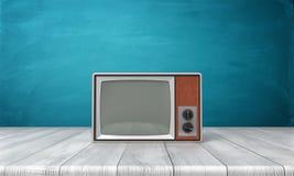 Wiedergabe 3d eines großen CRT-Fernsehers im alten Stil in einem braunen Rahmen, der auf einem hölzernen Schreibtisch steht Stockbilder