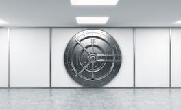 Wiedergabe 3D eines großen verschlossenen runden Metallsafes in einem Bank deposito Lizenzfreie Stockfotografie