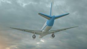 Wiedergabe 3D eines Handelsflugzeugfliegens über Wolken im Sonnenunterganglicht Konzept der schnellen Reise, der Feiertage und de lizenzfreie abbildung