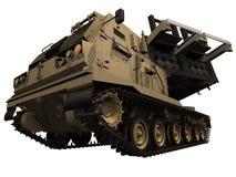Wiedergabe 3d eines M270 MLRS Front View Stockfotos