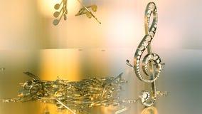 Wiedergabe 3D eines musikalischen Violinschlüssels und der fallenden Anmerkungen Lizenzfreie Stockfotografie
