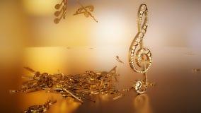 Wiedergabe 3D eines musikalischen Violinschlüssels und der fallenden Anmerkungen Stockfotos