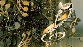 Wiedergabe 3D eines musikalischen Violinschlüssels und der fallenden Anmerkungen Stockfotografie