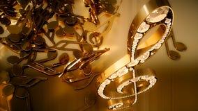 Wiedergabe 3D eines musikalischen Violinschlüssels und der fallenden Anmerkungen Lizenzfreie Stockbilder