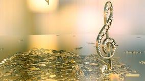 Wiedergabe 3D eines musikalischen Violinschlüssels und der fallenden Anmerkungen Stockbild