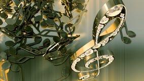 Wiedergabe 3D eines musikalischen Violinschlüssels und der fallenden Anmerkungen Stockfoto