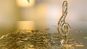 Wiedergabe 3D eines musikalischen Violinschlüssels und der fallenden Anmerkungen Lizenzfreies Stockbild