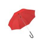 Wiedergabe 3d eines offenen roten Regenschirmes mit einem Schwarzen kurvte den Griff, der auf weißem Hintergrund lokalisiert wurd lizenzfreie abbildung