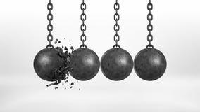 Wiedergabe 3d eines Satzes von vier schwarzen Eisenabrissbirnen, die von ihren Ketten übergeben, in denen ein Ball defekt ist Stockfotos