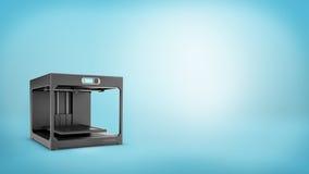 Wiedergabe 3d eines schwarzen 3d-printer mit einem kleinen Bildschirm und ein leeres Drucken geht auf blauem Hintergrund zu Bett Lizenzfreies Stockbild