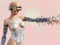 Wiedergabe 3D eines sexy weiblichen androiden Roboters, der auseinander bricht Lizenzfreie Stockfotos