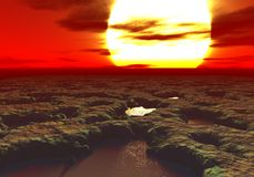 Wiedergabe 3D eines Sonnenuntergangs auf einem ausländischen Planeten mit Pools des Schlammes überall Stockfotos