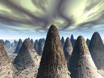 Wiedergabe 3D eines Steins bedeckte ringsum Berge Stockfotos