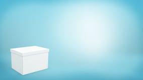 Wiedergabe 3d eines weißen Rechteckkastens mit einem geschlossenen Deckel auf blauem Hintergrund Lizenzfreies Stockbild