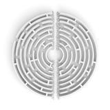 Wiedergabe 3d eines weißen runden Labyrinths mit seinen Wänden gebrochen durch eine Gerade des Polterns das Labyrinth zur Hälfte  Stock Abbildung