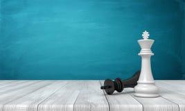 Wiedergabe 3d eines weißen Schachkönigs, der nahe einem gefallenen schwarzen König auf einem hölzernen Schreibtischhintergrund st lizenzfreie stockfotos