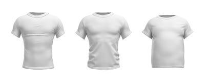 Wiedergabe 3d eines weißen T-Shirts in der realistischen dünnen, muskulösen und fetten Form in der Vorderansicht über weißen Hint vektor abbildung