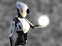 Wiedergabe 3D eines weiblichen androiden Roboters, der Energiebereich hält Stockbild