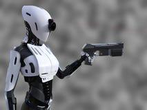 Wiedergabe 3D eines weiblichen androiden Roboters mit Gewehr Lizenzfreie Stockfotos