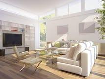 Wiedergabe 3D eines Wohnzimmers stockbilder