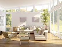 Wiedergabe 3D eines Wohnzimmers stockfotos