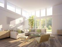 Wiedergabe 3D eines Wohnzimmers Lizenzfreies Stockbild