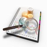 Wiedergabe 3D Geschäftsdiagramm, eine Lupe und Stapel US-Münzen Stockfotos
