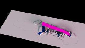 Wiedergabe 3D Geschäftswachstumstabelle mit einem Pfeil zerstört die Sperren, die oben steigen stock abbildung