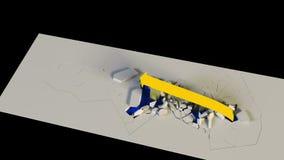 Wiedergabe 3D Geschäftswachstumstabelle mit einem Pfeil zerstört die Sperren, die oben steigen lizenzfreie abbildung