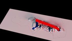 Wiedergabe 3D Geschäftswachstumstabelle mit einem Pfeil zerstört die Sperren, die oben steigen stock footage